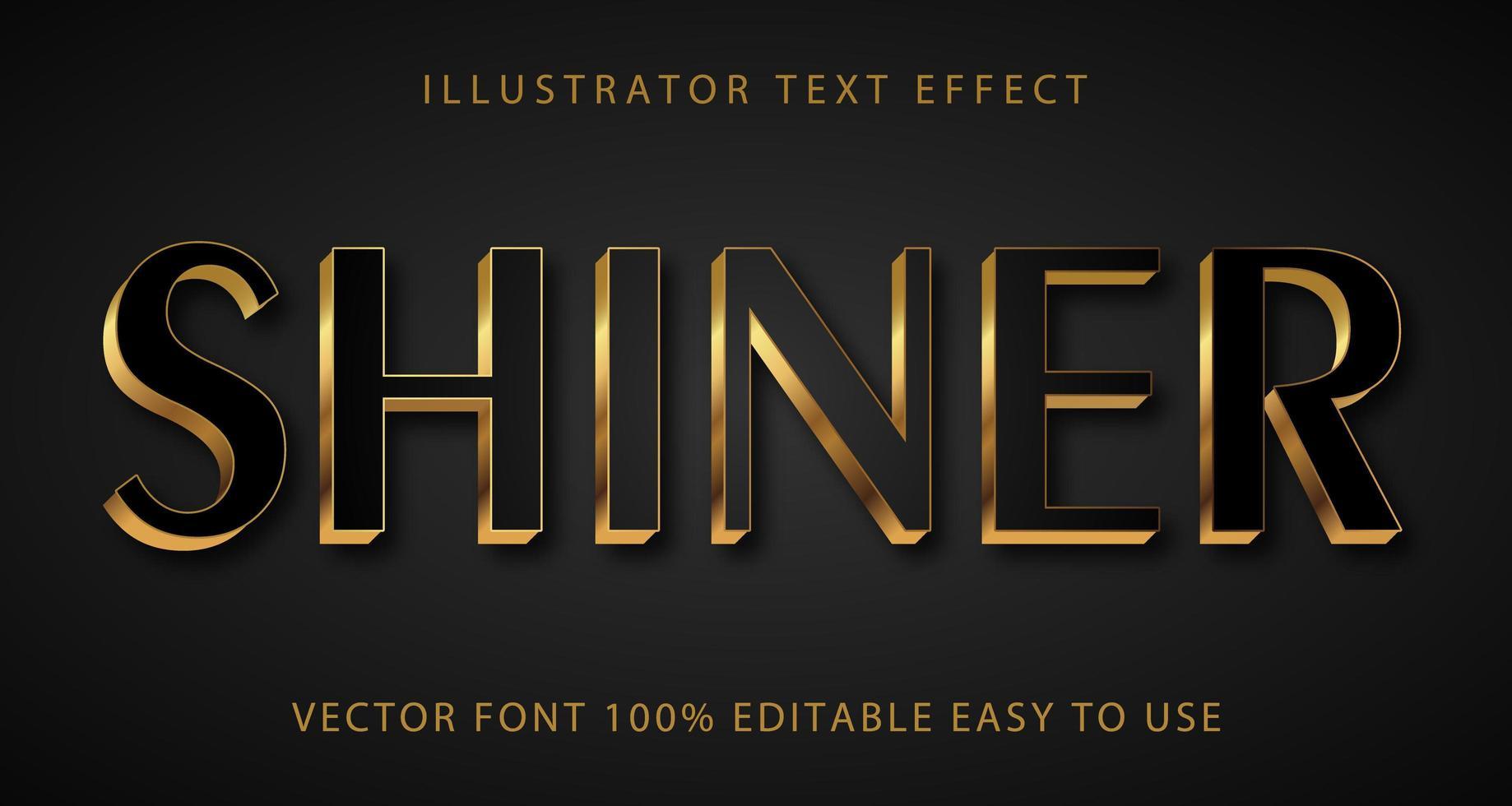 glanzend zwart, goud accent tekst effect vector