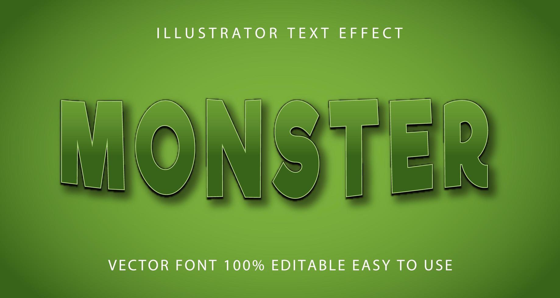 groene curve monster teksteffect vector