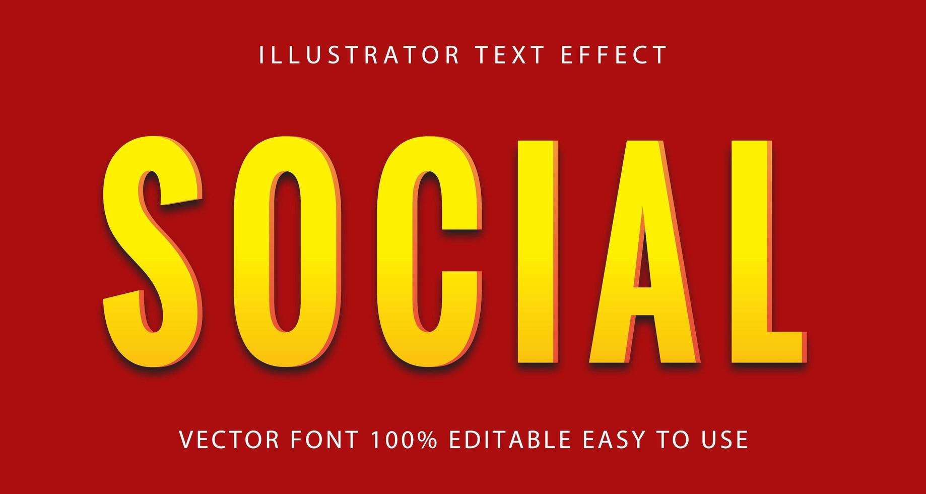 sociaal geel teksteffect vector
