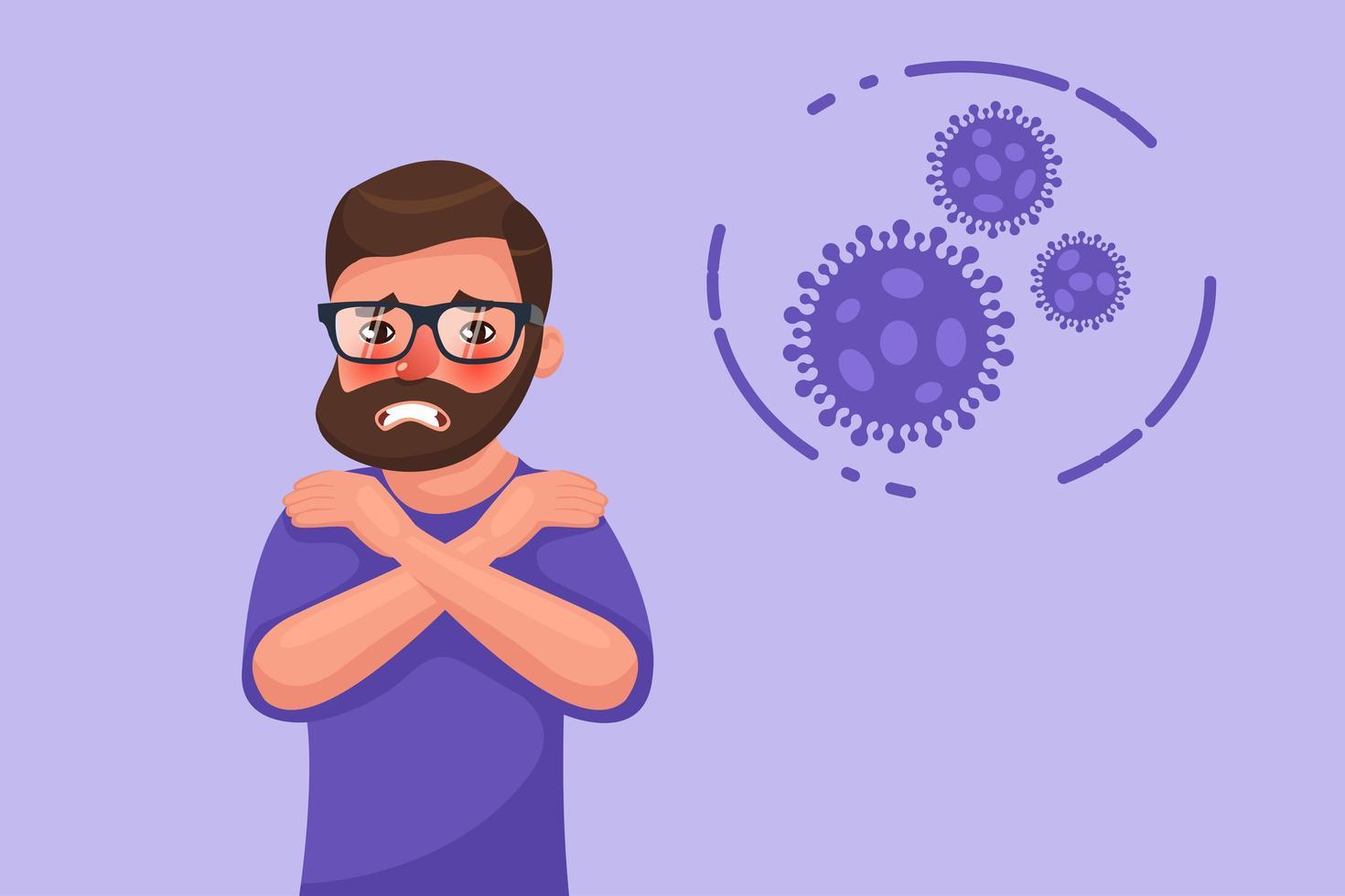 bebaarde jonge man met coronavirus rillingen symptoom vector
