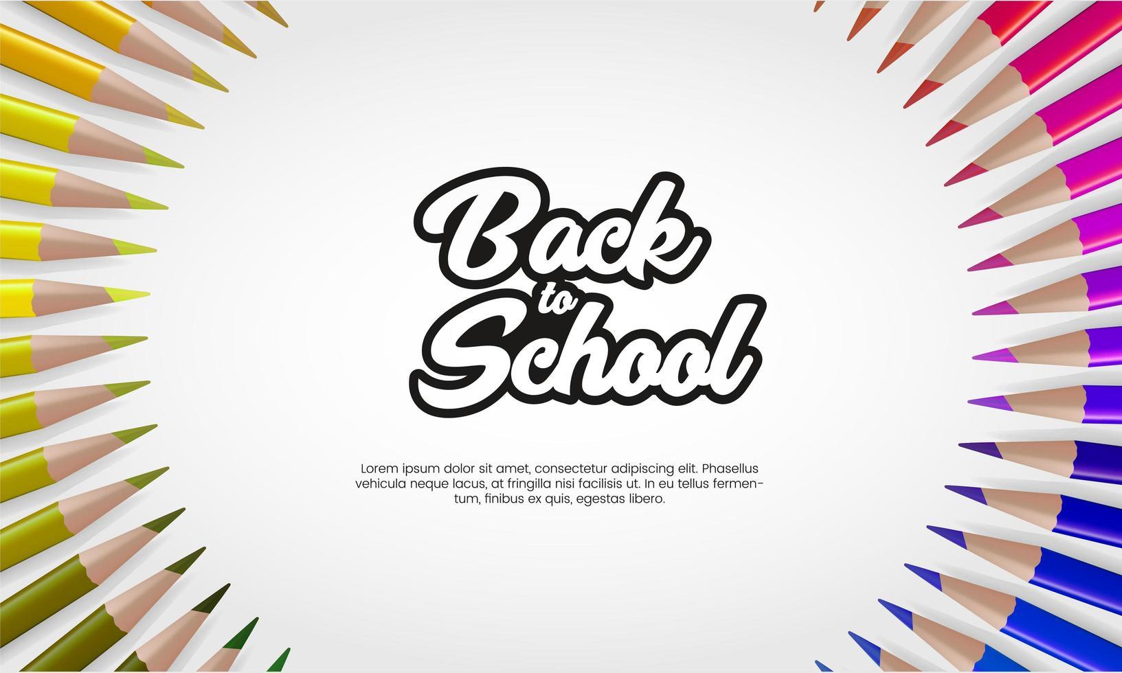 terug naar schoolbanner met kleurpotloden vector