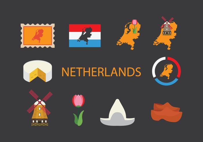 Nederland Kaart Icon Set vector
