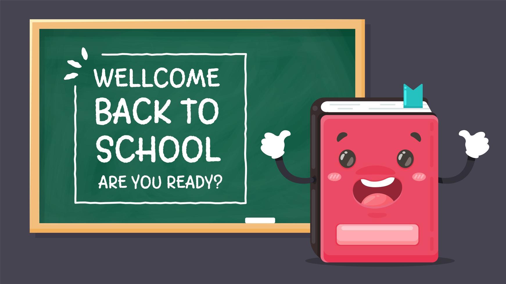 notebook en welkom terug op schoolbord vector