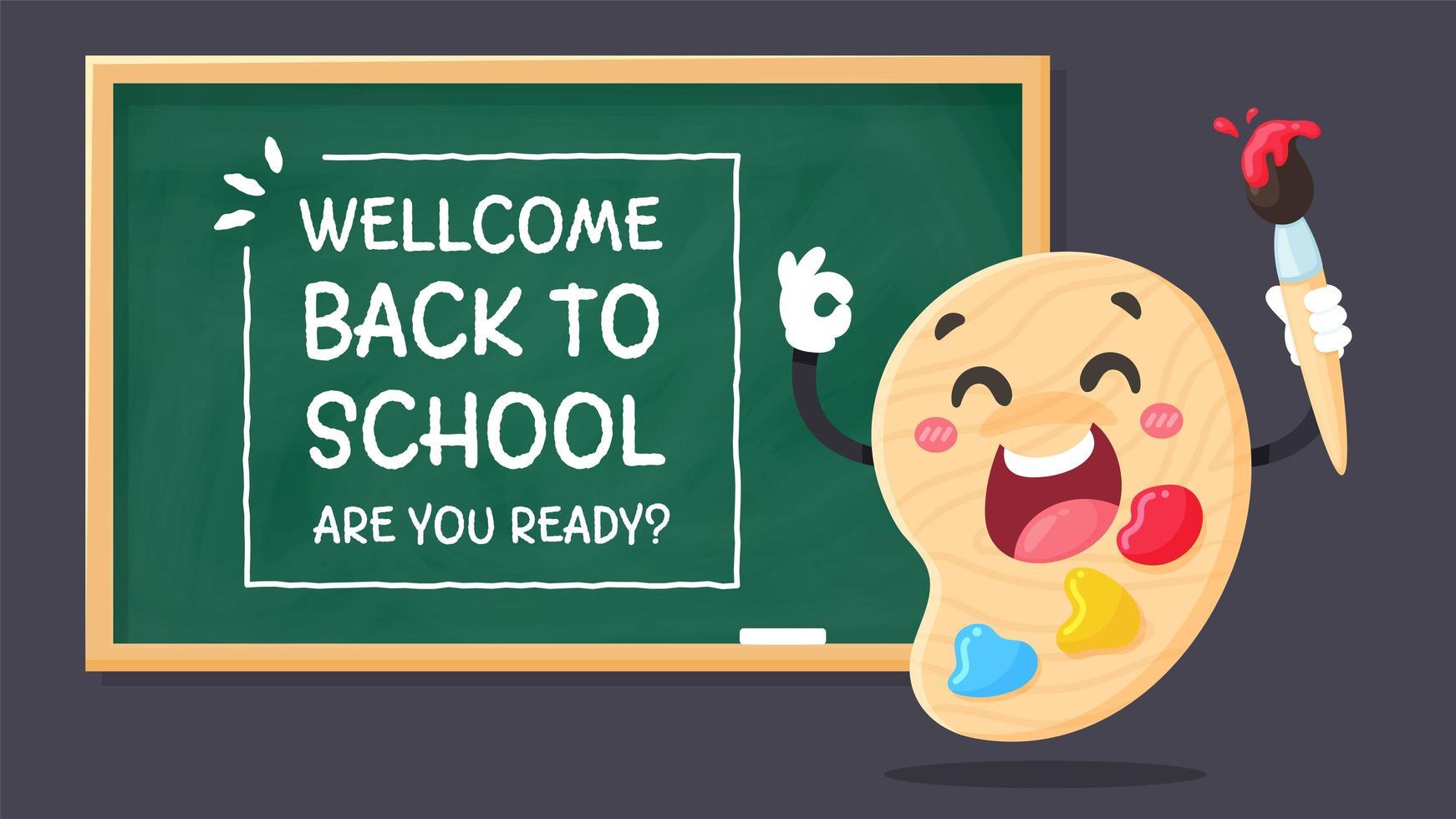 welkom terug op schoolbord. vector