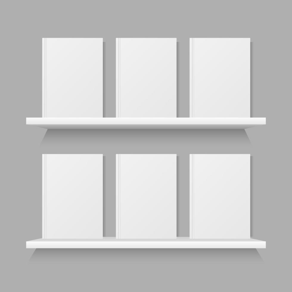 boek mock up op plank geïsoleerd op een grijze achtergrond vector