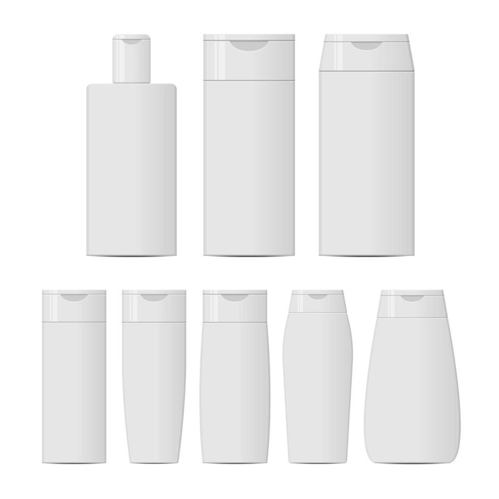 shampooflessen die op witte achtergrond worden geïsoleerd vector