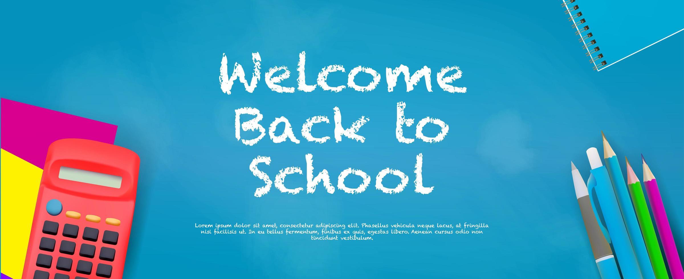Welkom terug op school banner met benodigdheden vector
