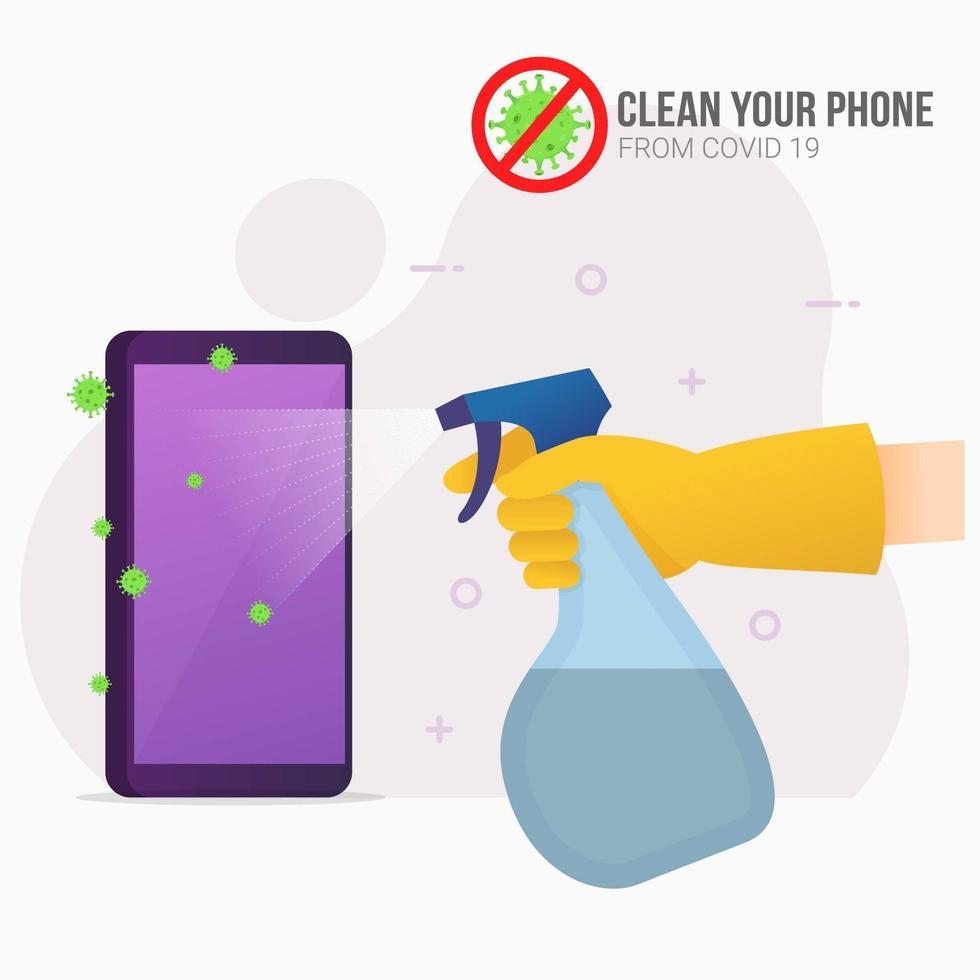 sproeien desinfectiemiddel op smartphone ter preventie vector
