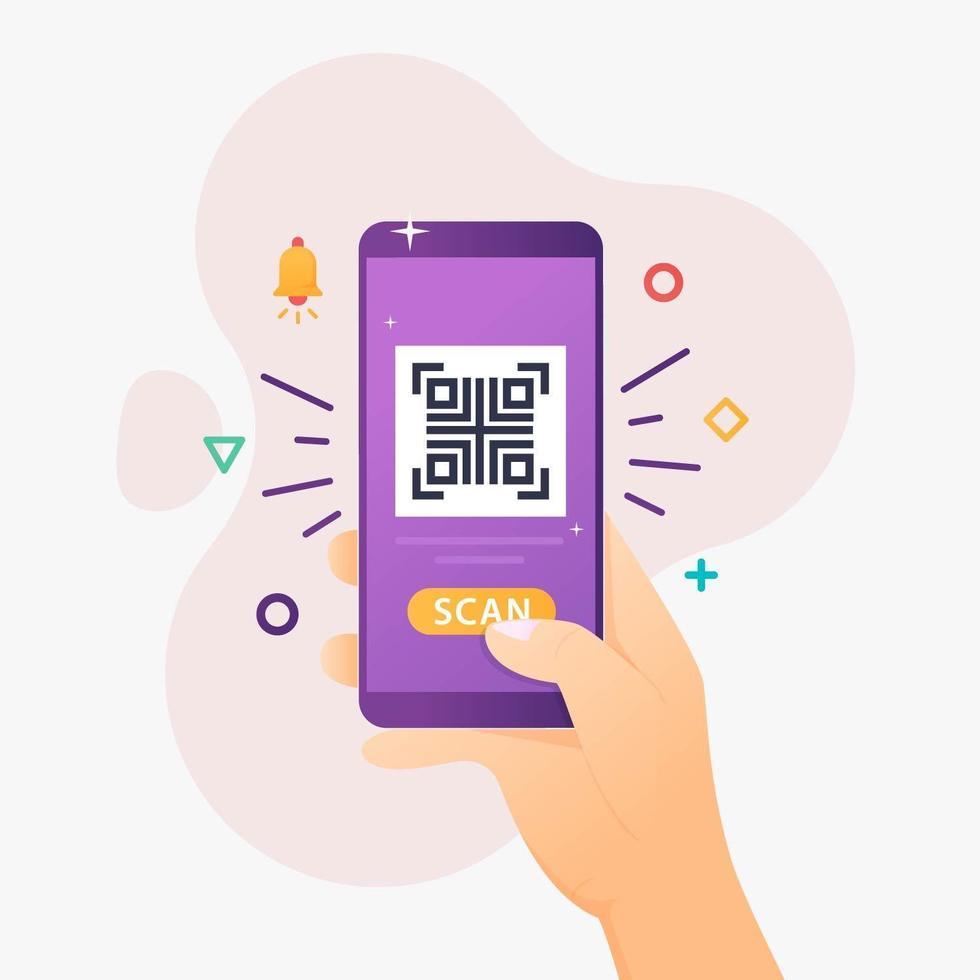 smartphone qr-code scannen vector