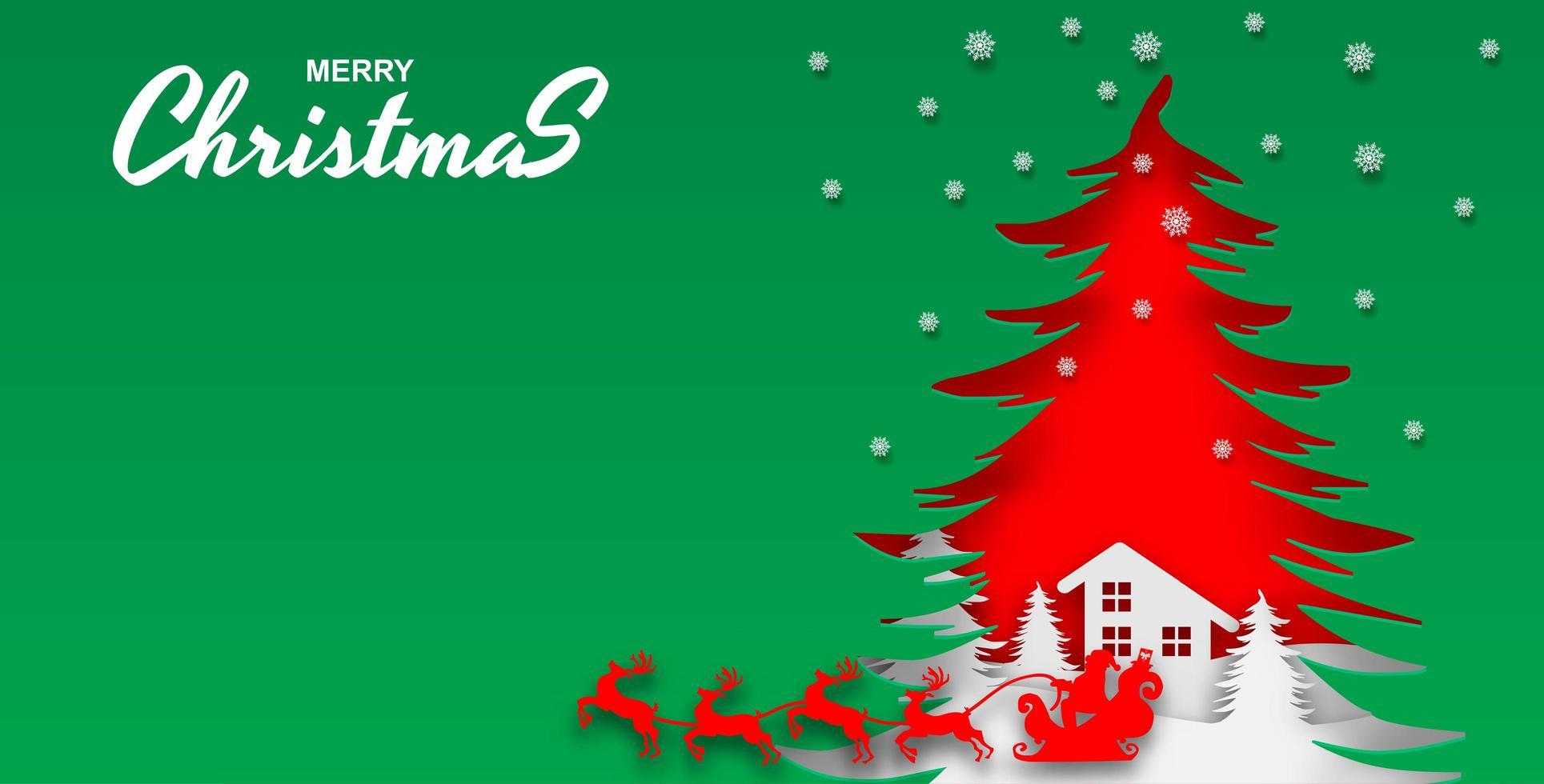 vrolijk kerstfeest groen gesneden papier ontwerp vector