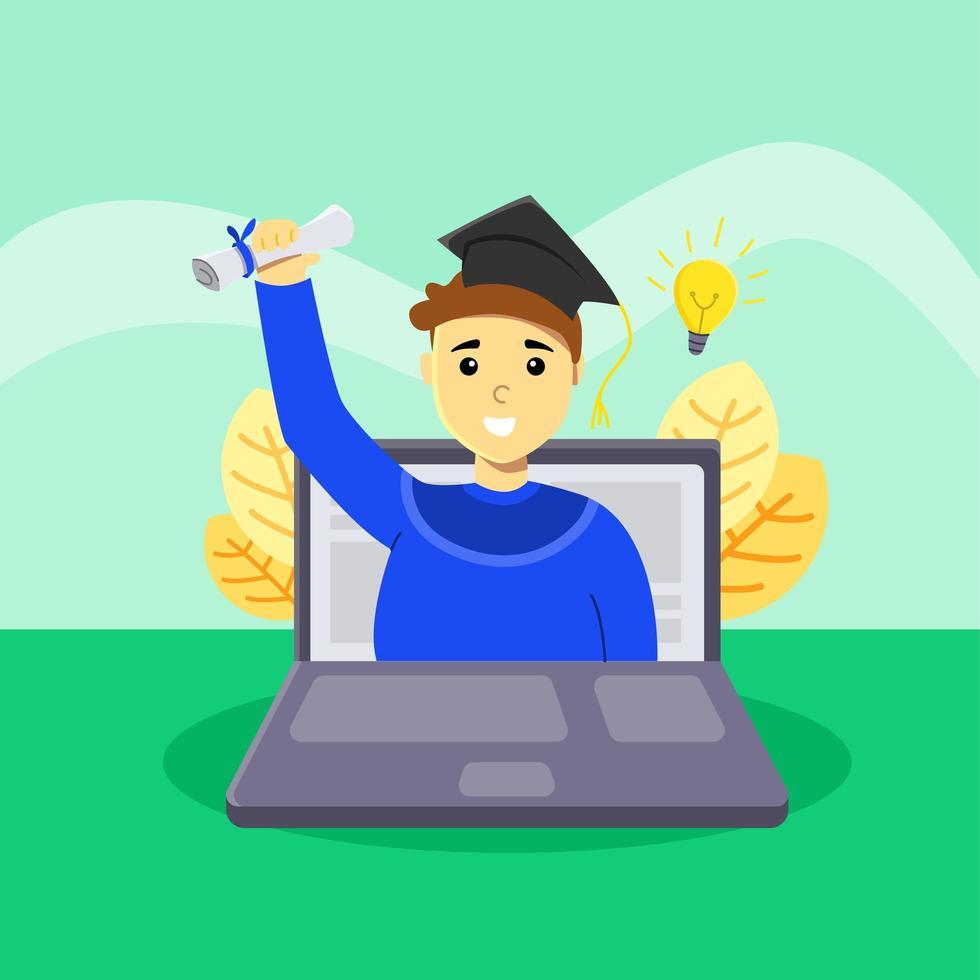 gelukkige student in virtuele afstuderen vector