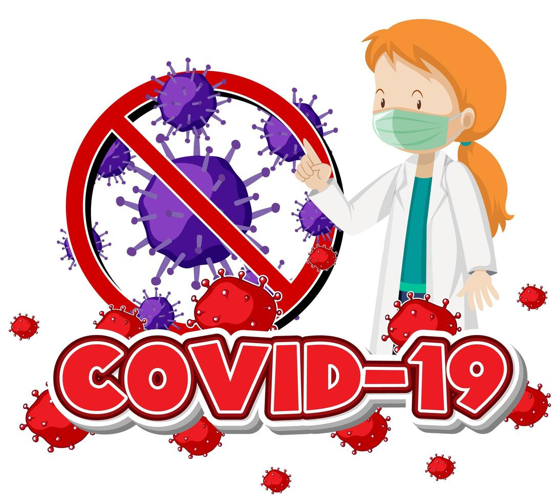 vrouwelijke arts die masker covid-19 draagt vector