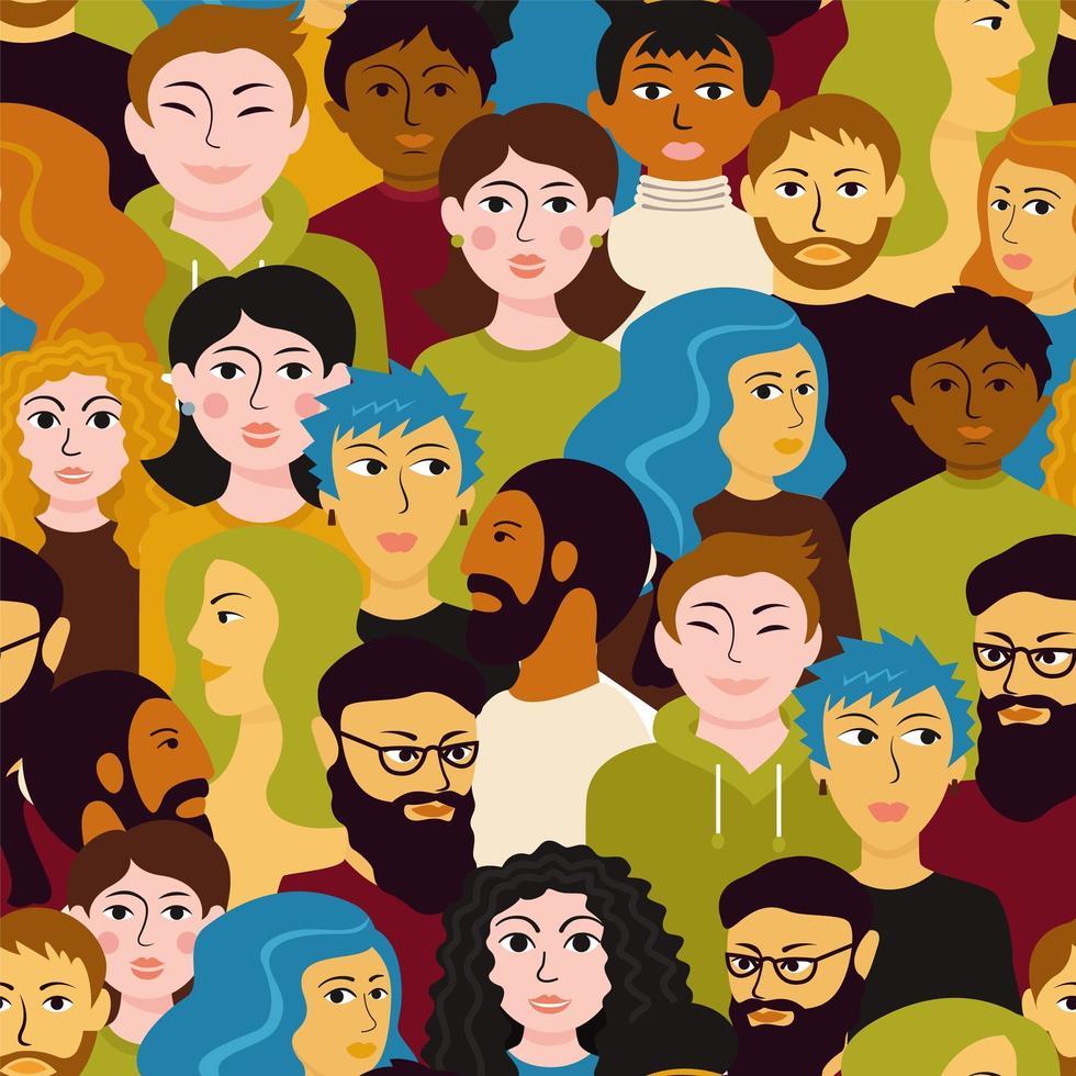 kleurrijk divers menigte naadloos patroon vector
