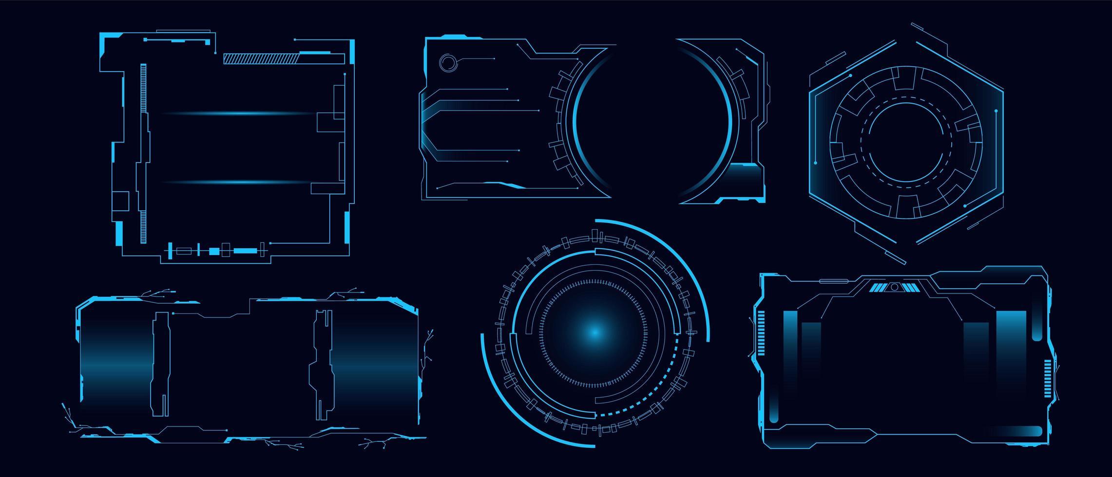 set van futuristische hi-tech hud-interface vector