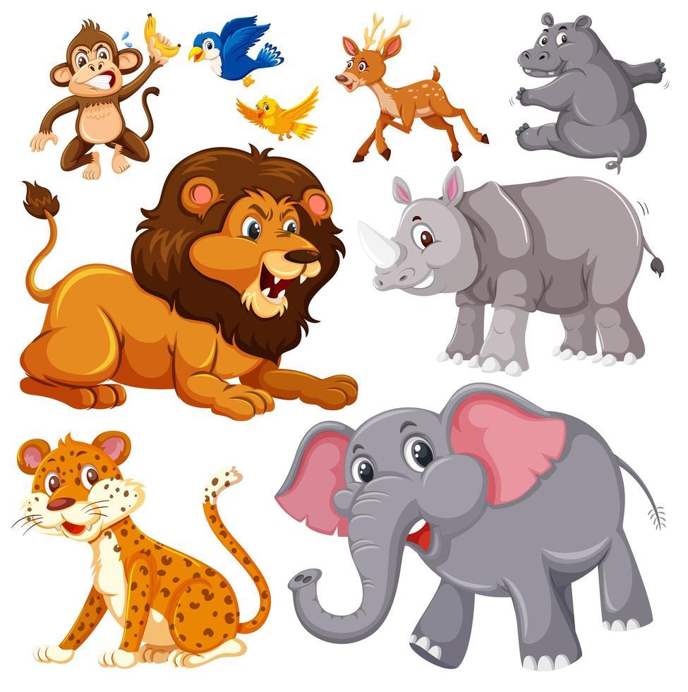 een set wilde dieren vector