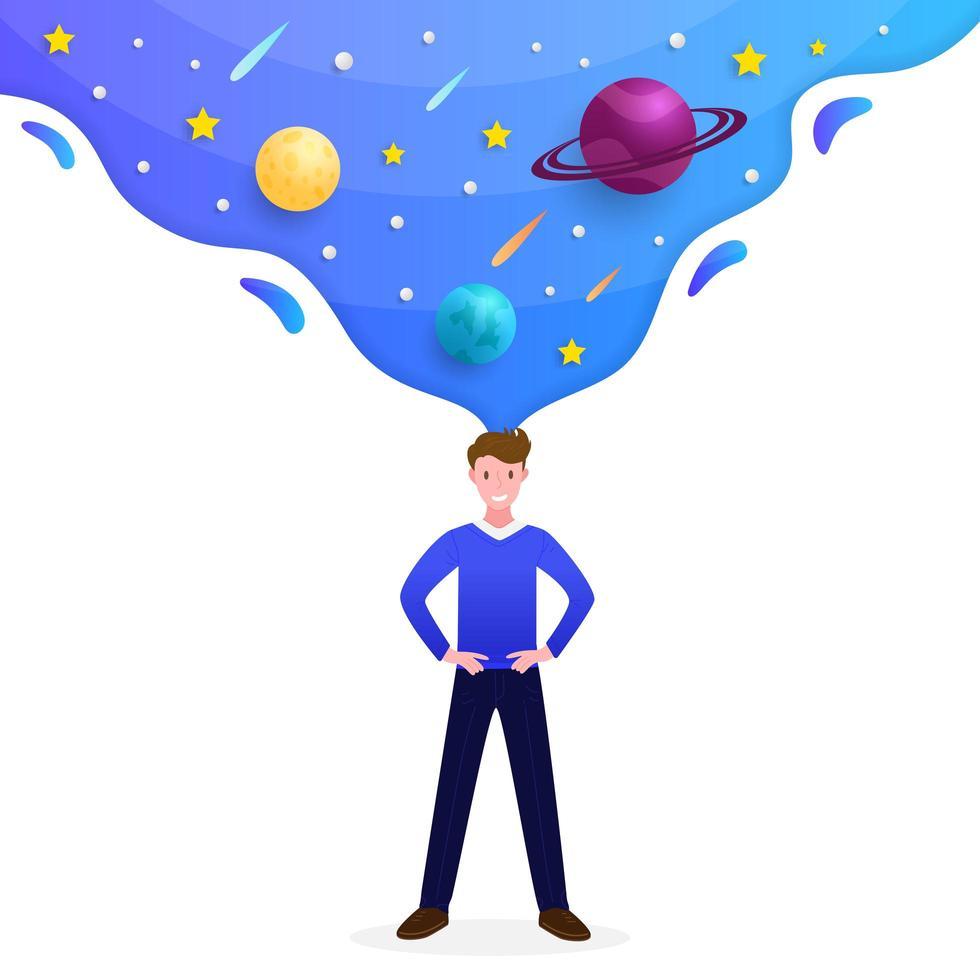 Melkwegscène die uit de geest van de mens komt vector