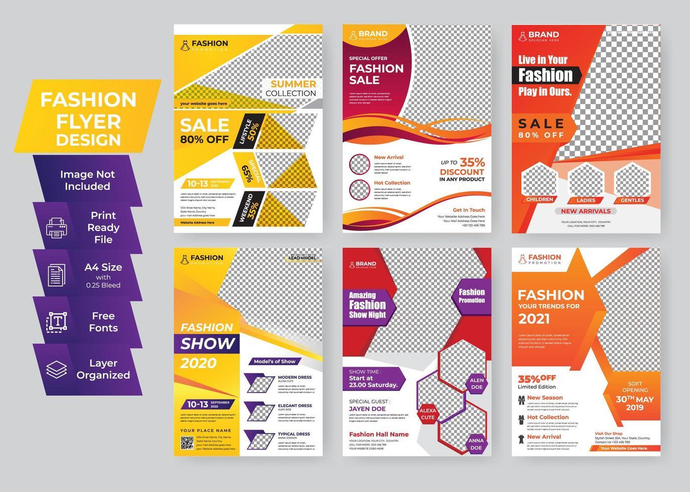 kleurrijke mode geometrische flyer sjabloon creatief ontwerpset vector