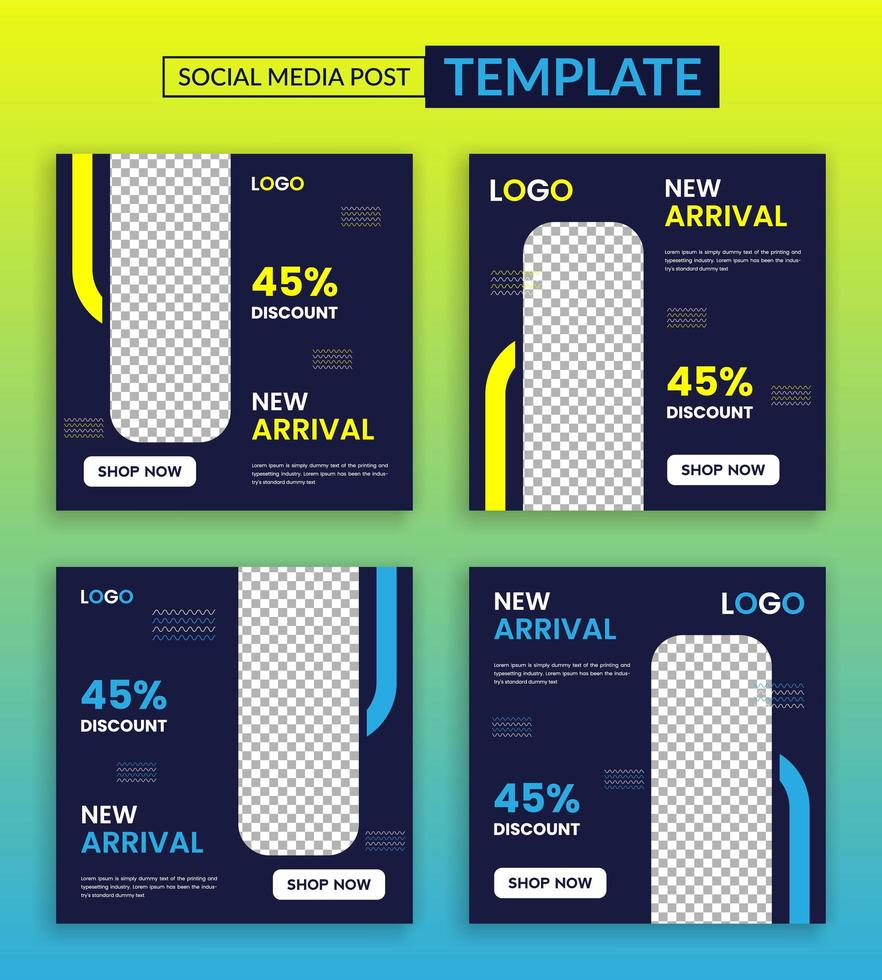 nieuwe aankomst social media postsjabloon, vector