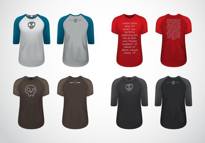 Gratis Raglan T-shirt Sjabloon Vector
