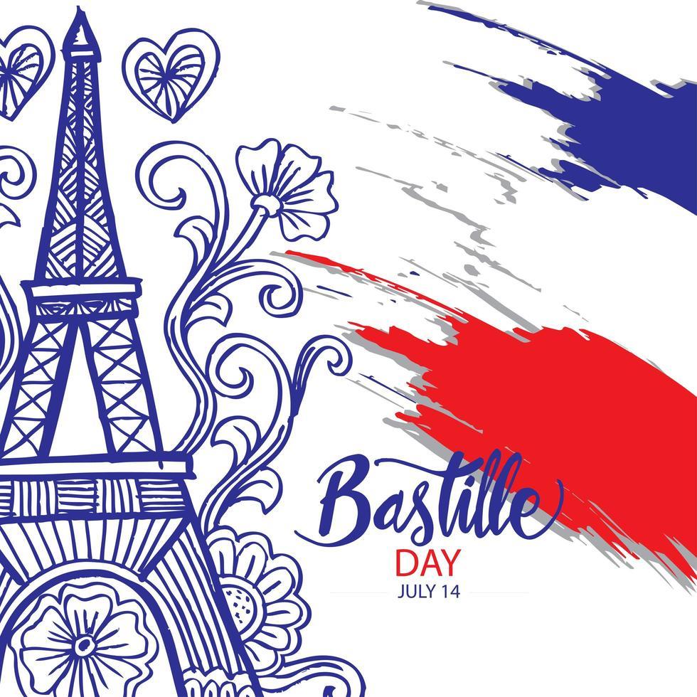 gelukkige bastille dag kleurrijke poster vector