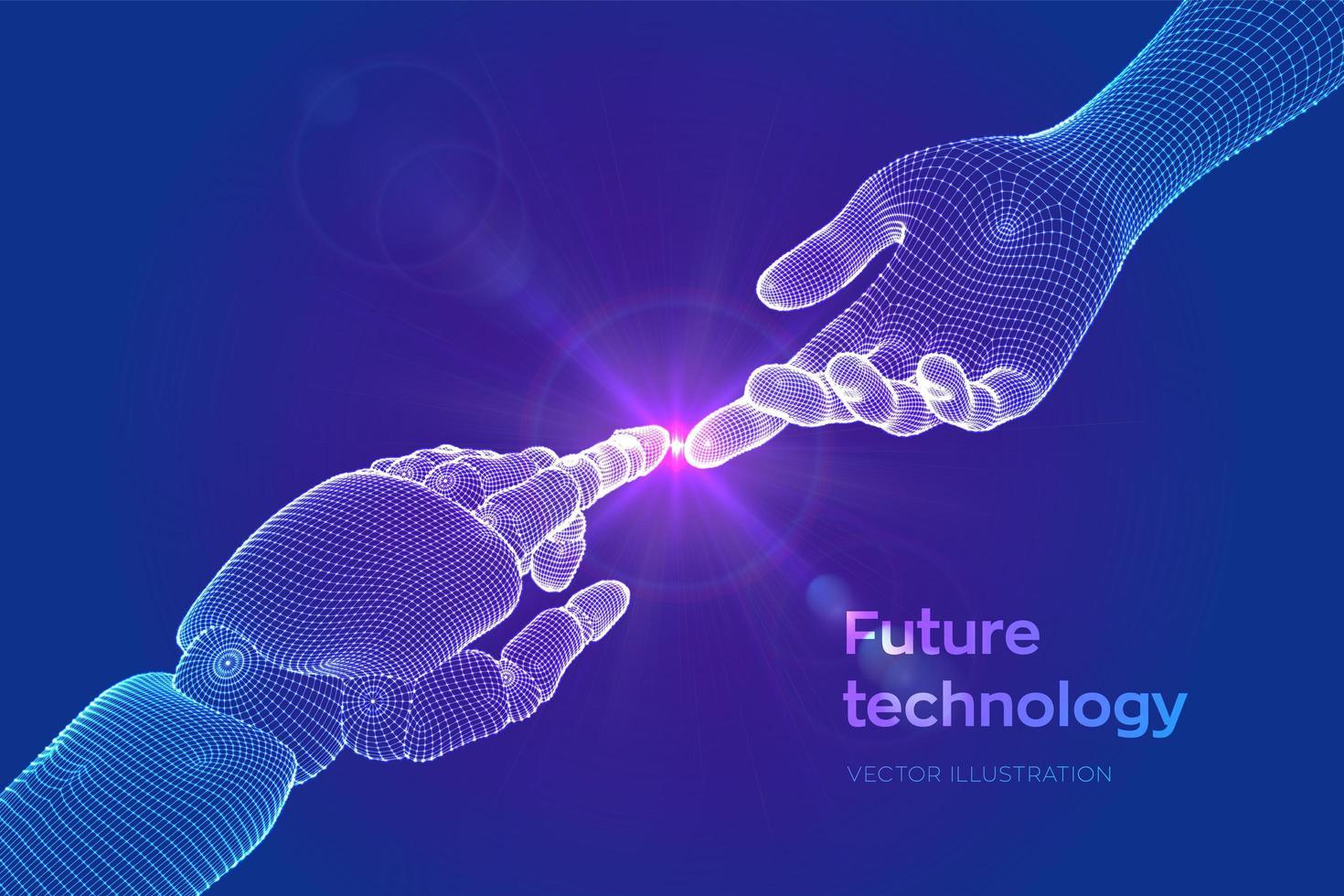 handen van robot en menselijke aanraking vector