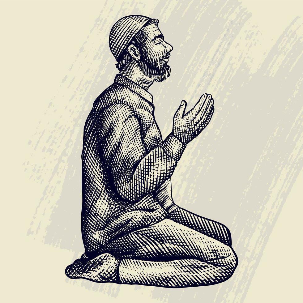 hand getekende gravure van moslim man bidden vector