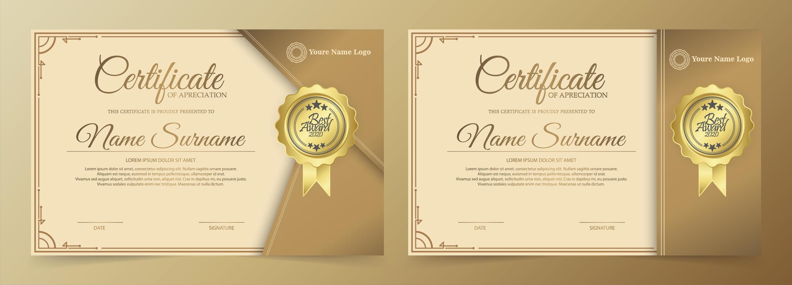 moderne gouden certificaatset vector