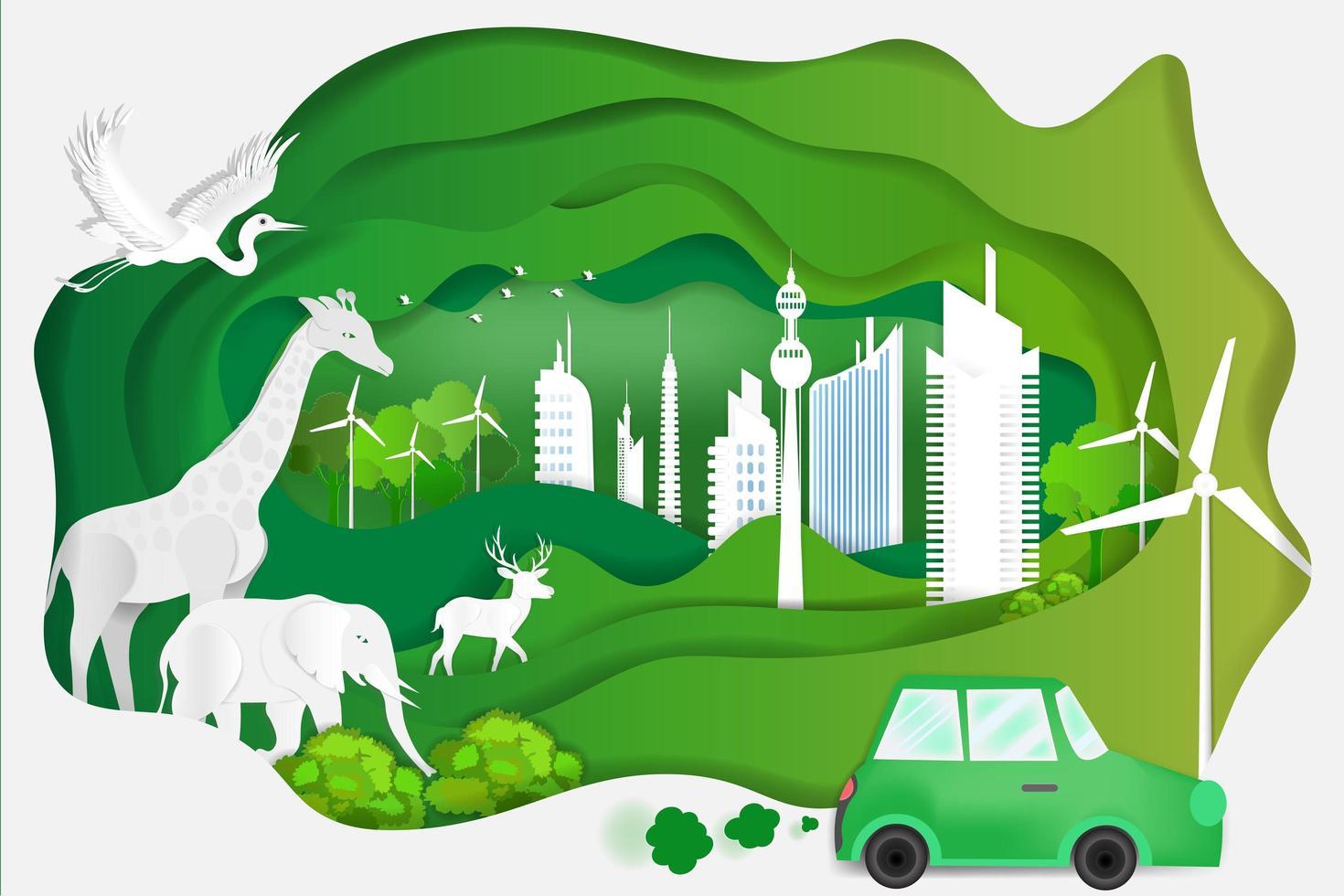 papier kunst van concept wereld wildlife dag vector
