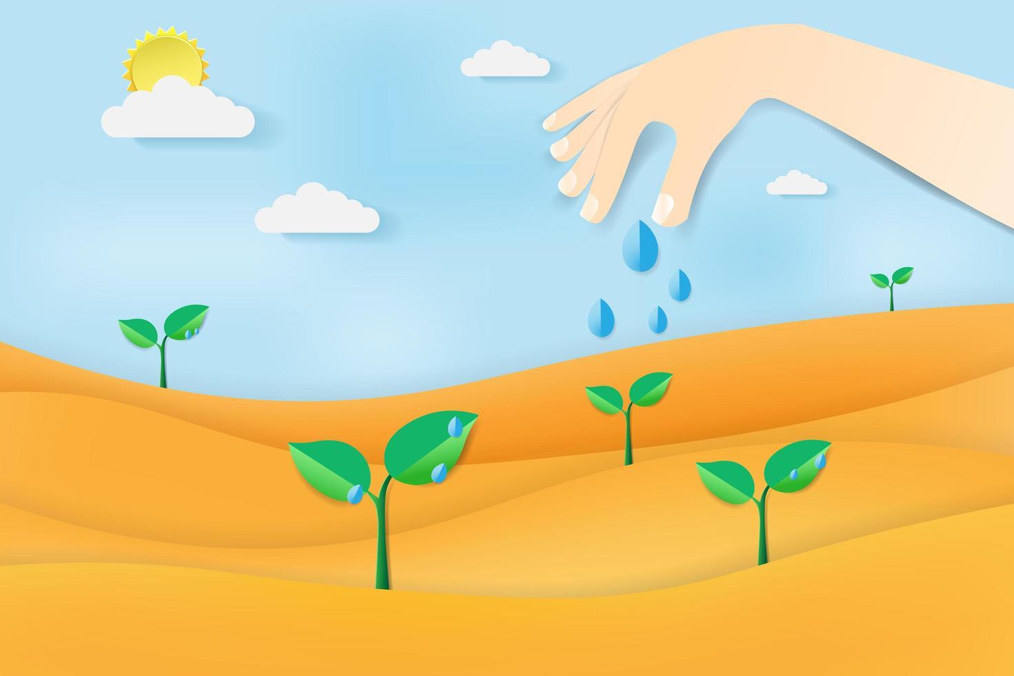 woestijnlandschap met hand planten water geven vector