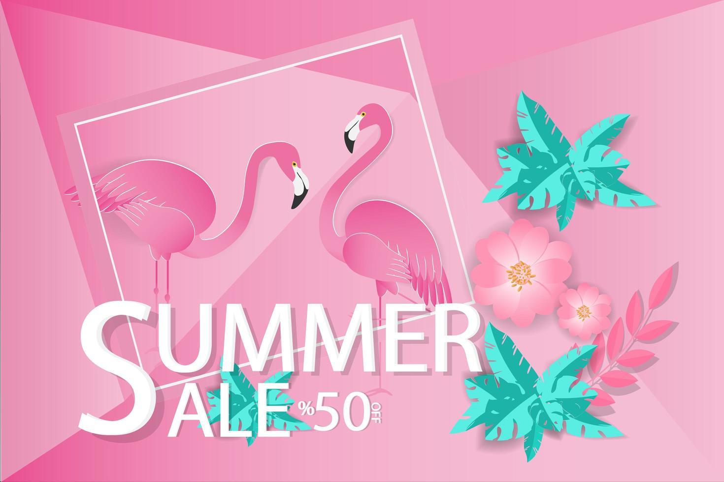 zomeruitverkoop ontwerp met flamingo's vector