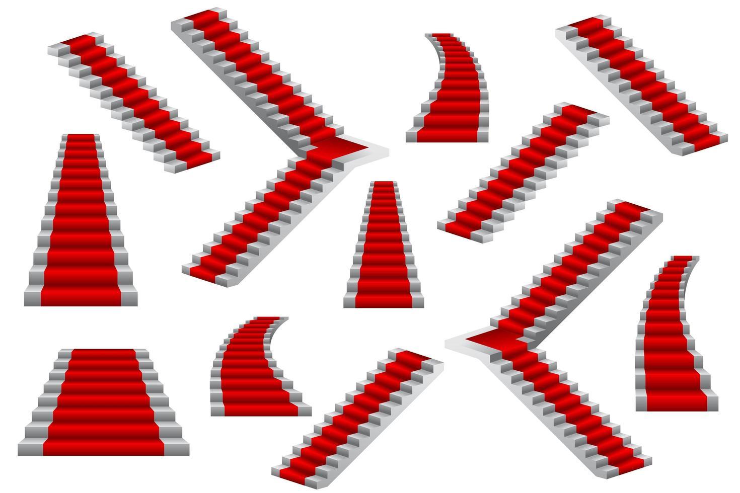 set van rode loper trappen vector