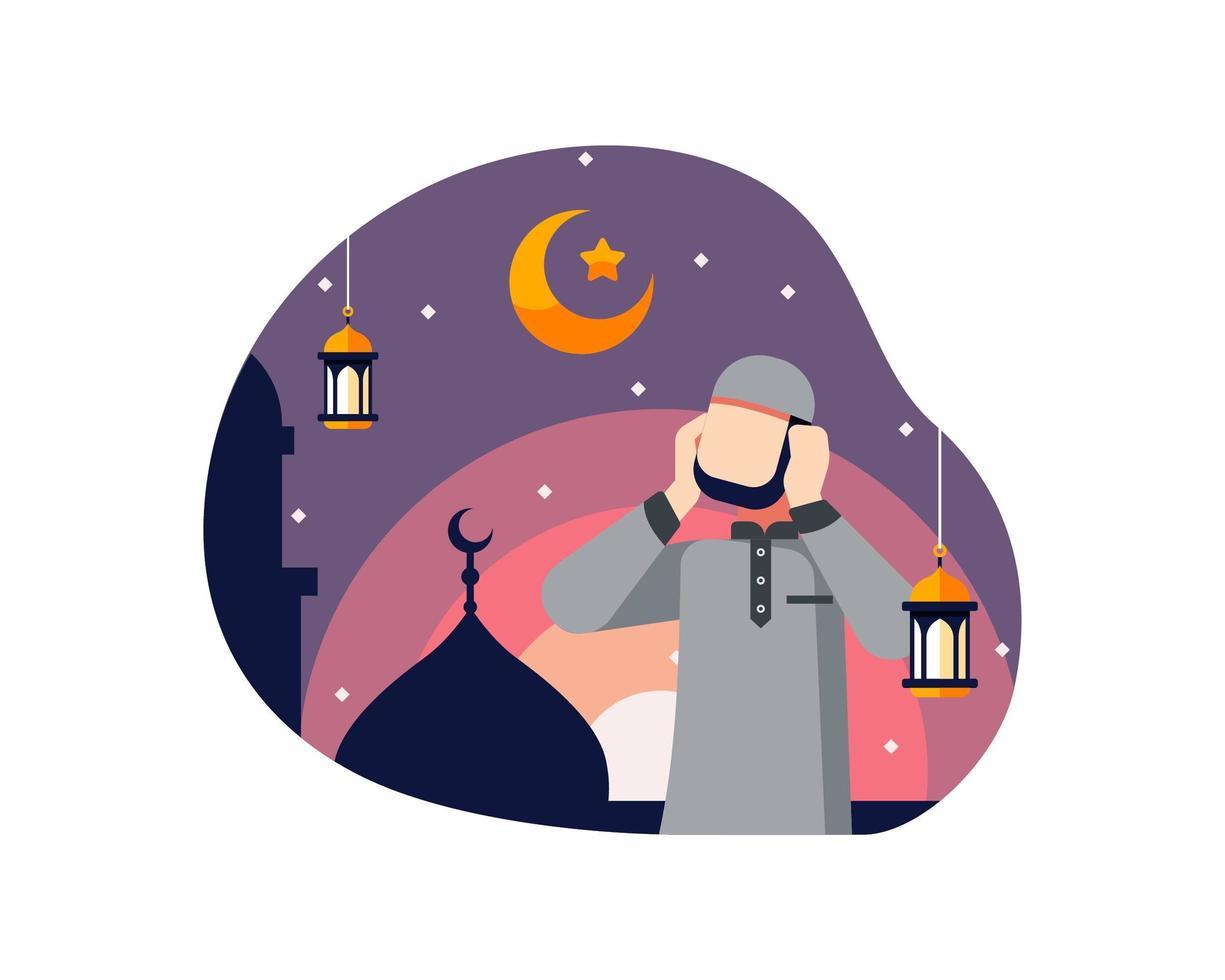 ramadan achtergrond met moslim man gebed oproep doen vector