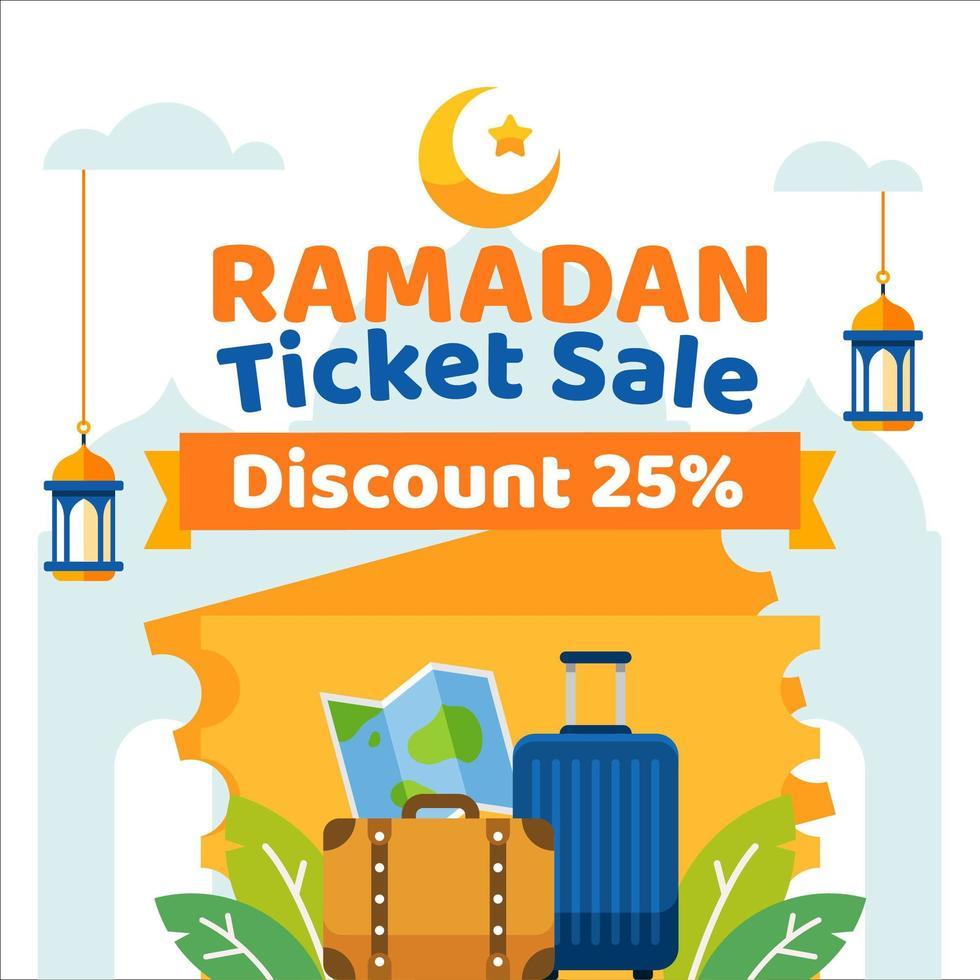 ramadan kaartverkoop achtergrond met reiselementen vector