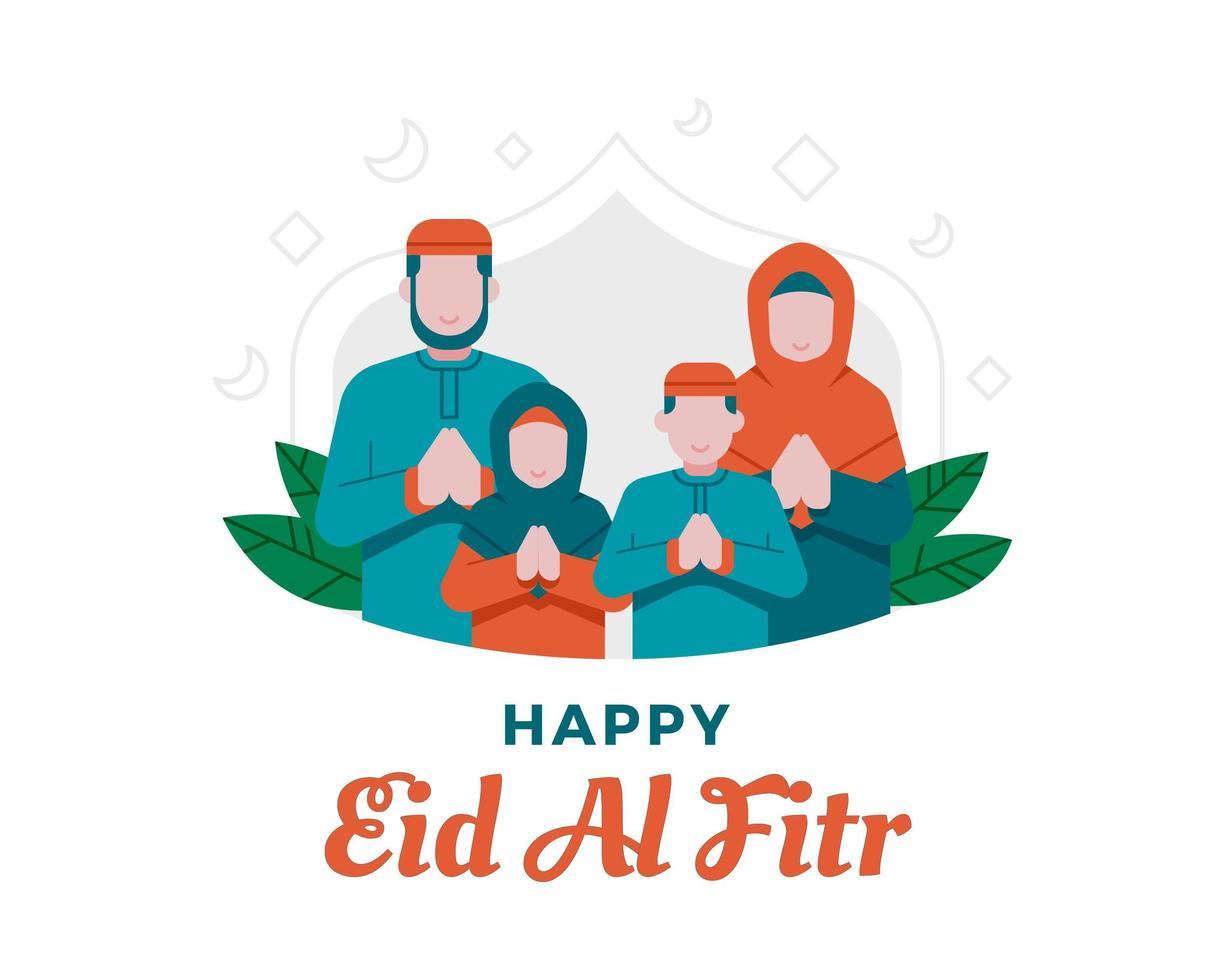 gelukkige eid al fitr achtergrond met moslim familie illustratie vector