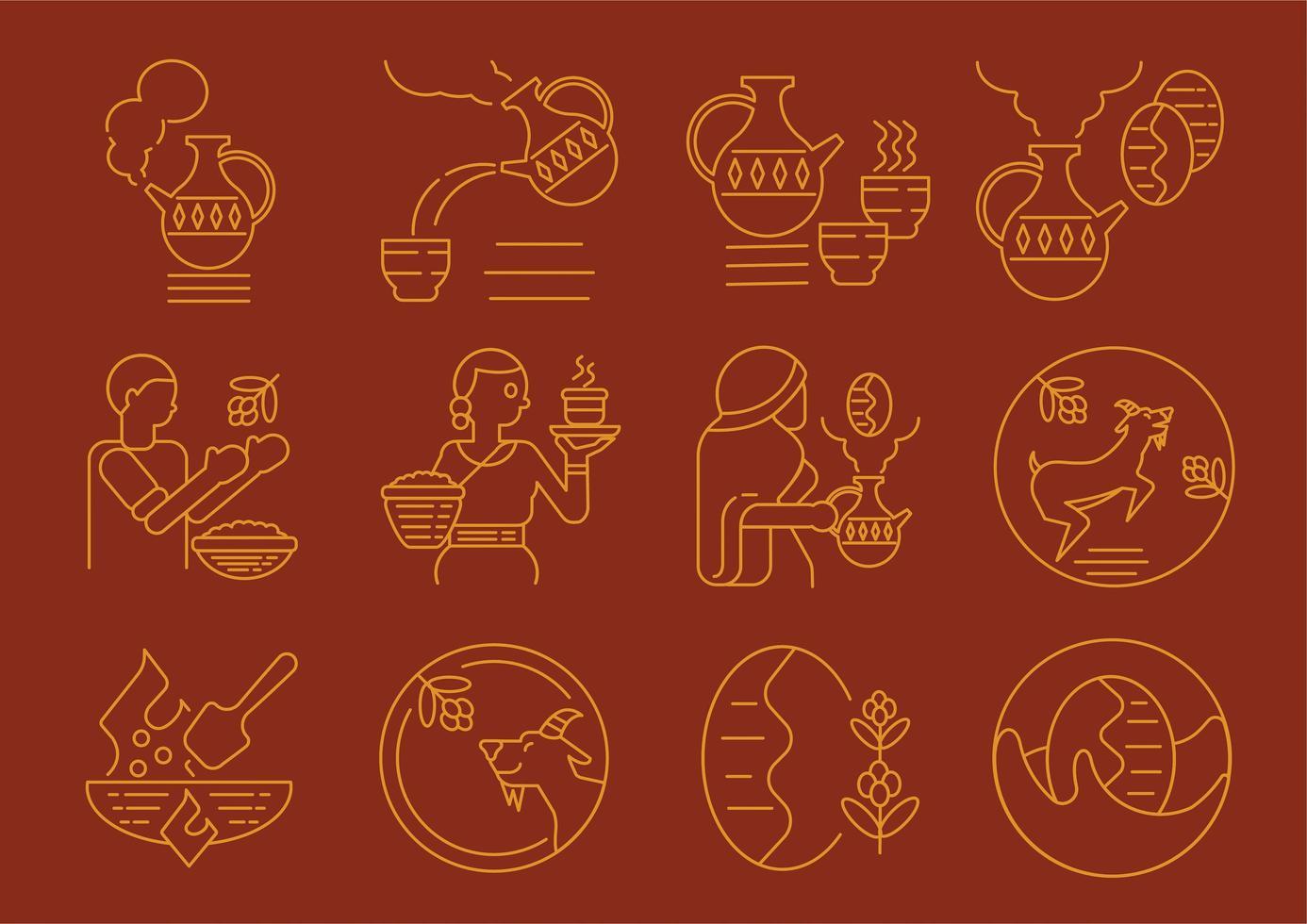 Ethiopische lokale koffie cultuur embleem set vector