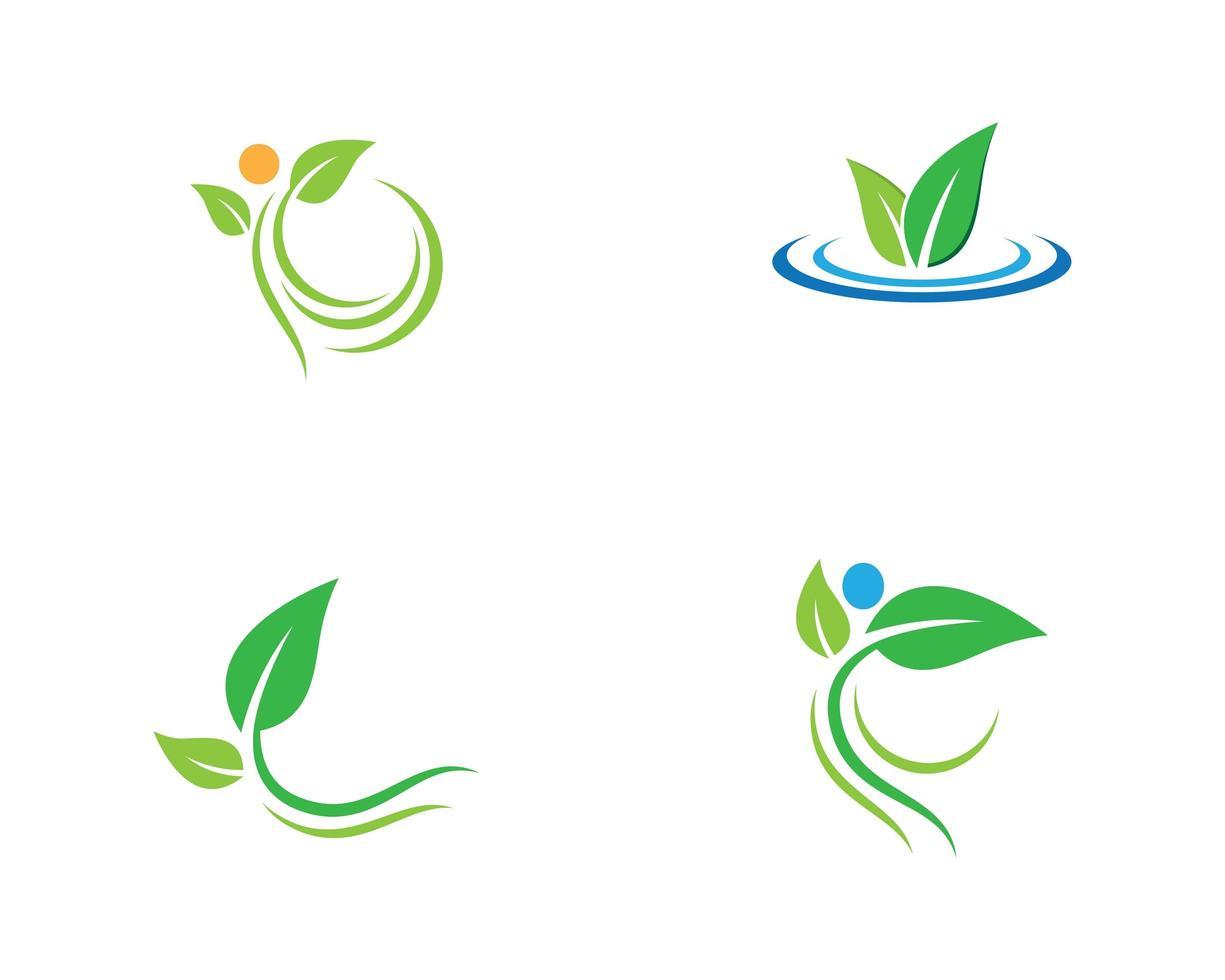 ecologie groen blad logo set vector