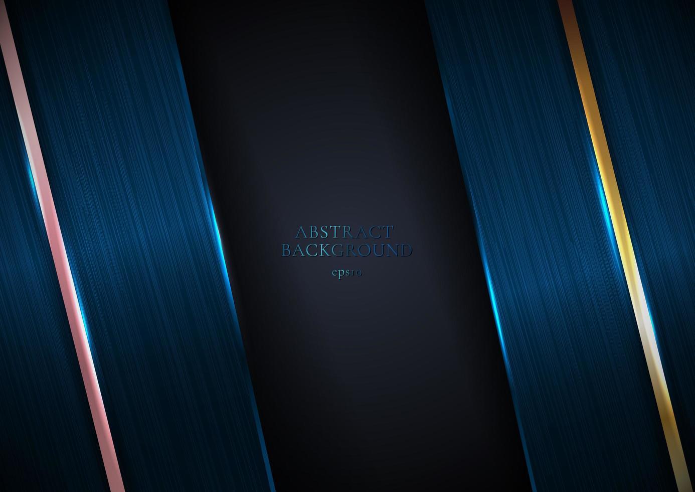 abstract blauw metallic textuur met rose goud en gouden lijnen vector