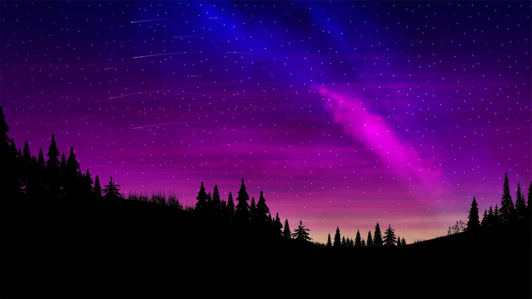 paarse dennenbos landschap 's nachts vector