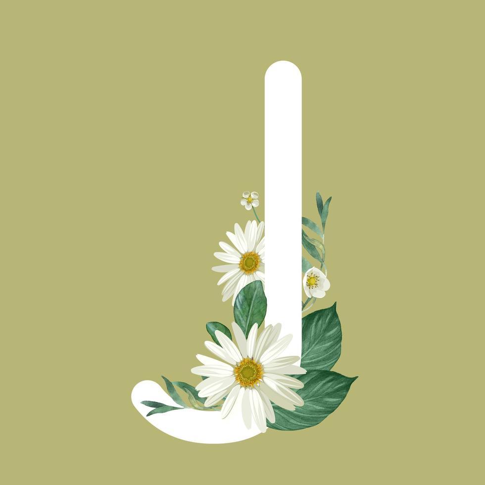 letter j met bloemen vector
