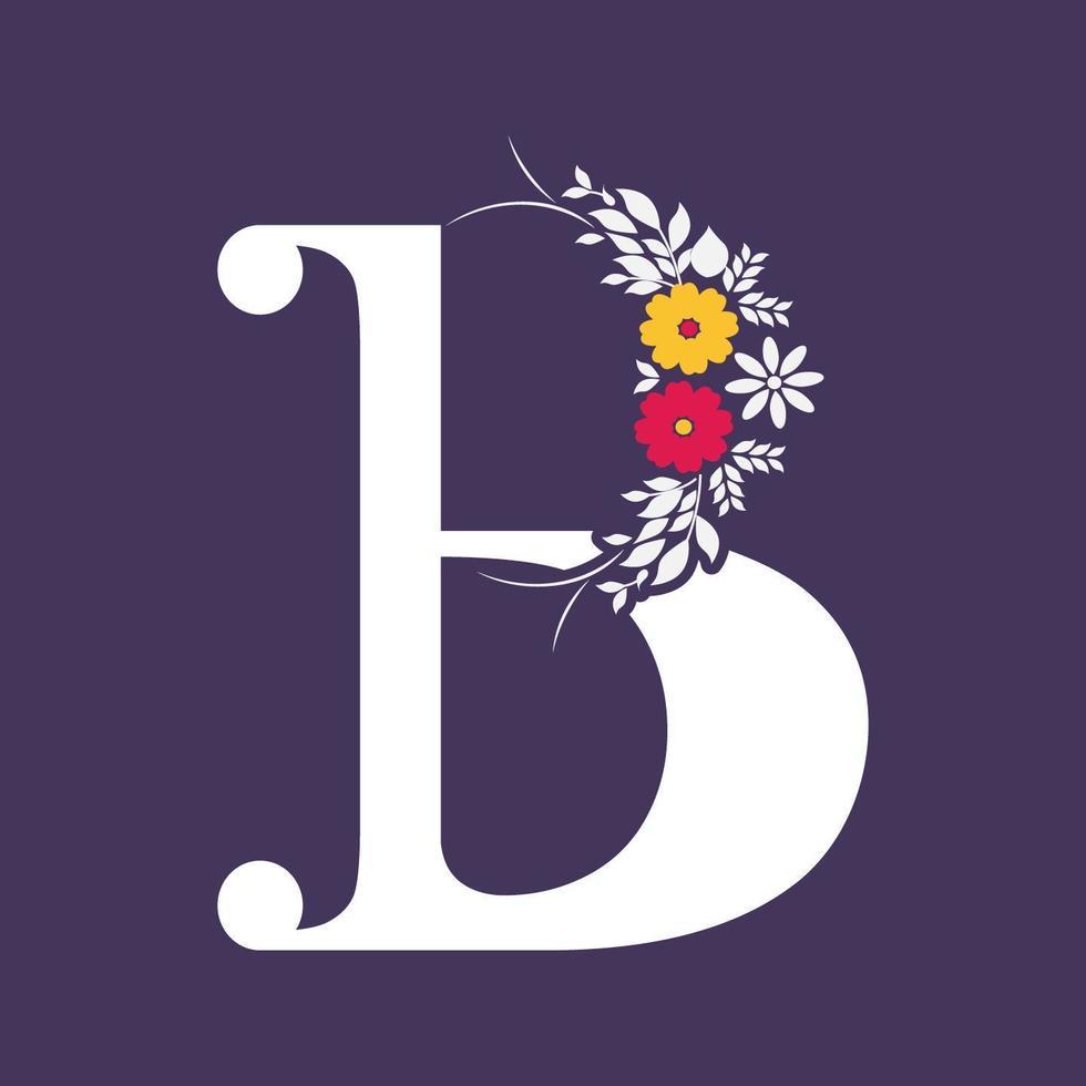 bloemenstijl letter b typografie vector