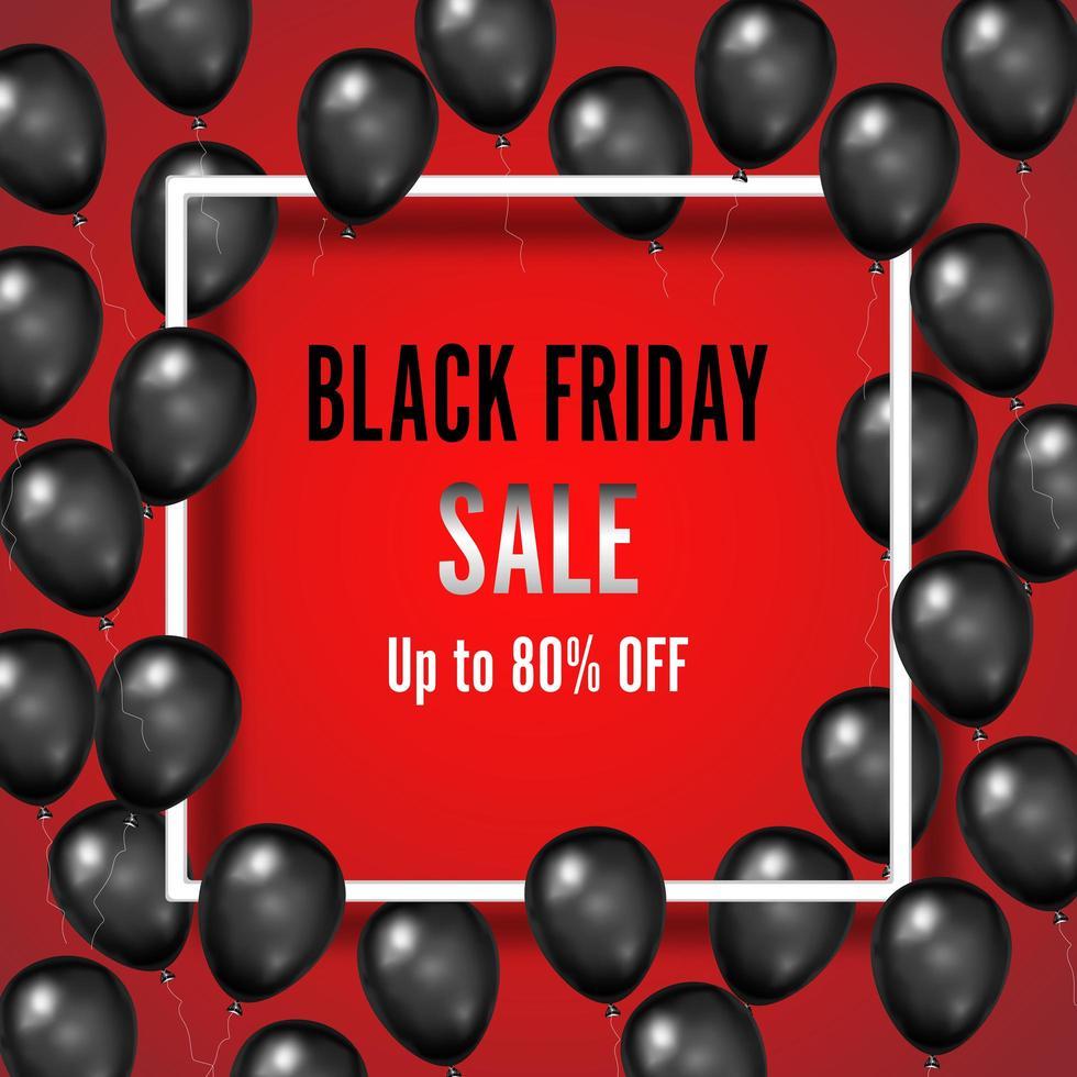 zwarte vrijdag verkoop poster met glanzende ballonnen op rood vector