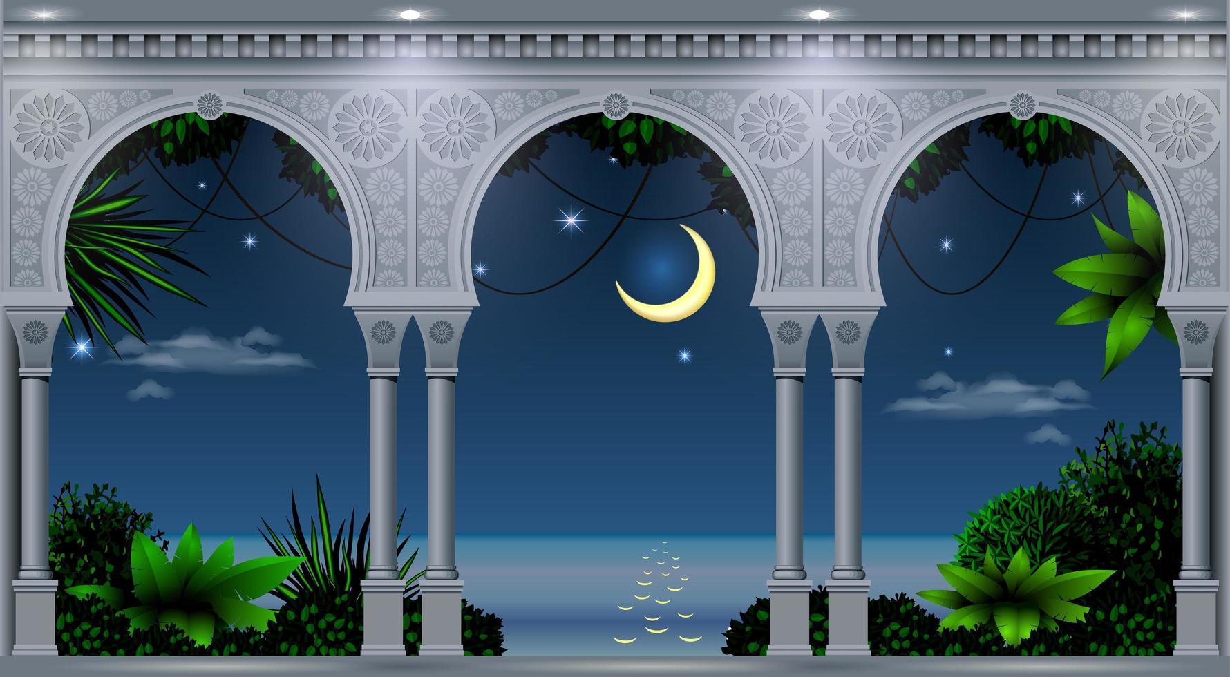 tropische nacht uitzicht vanaf balkon van een paleis vector