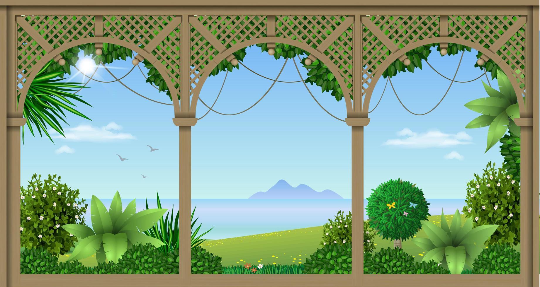 houten veranda van een tropisch hotel of huis vector