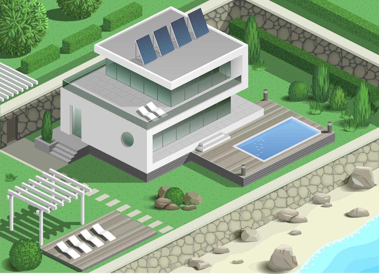 moderne villa met zwembad vector