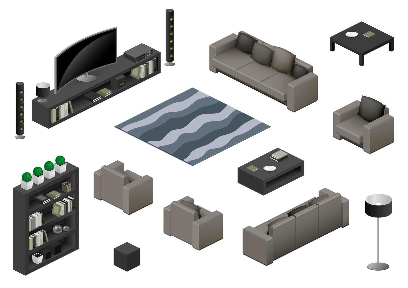isometrische woonkamer meubelen element set vector