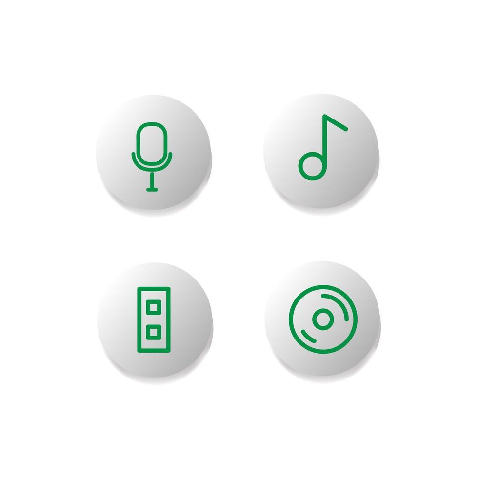 muziek icon knop set vector
