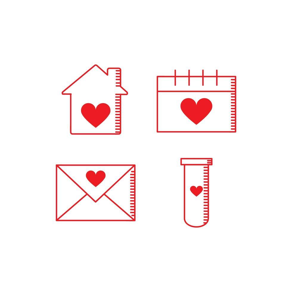 rode valentijn icoon collectie vector