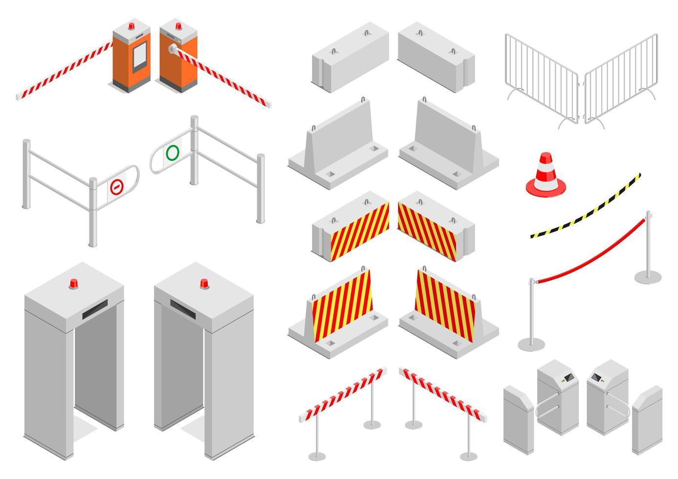 set stadsveiligheid en -beveiliging infrastructuurelementen vector