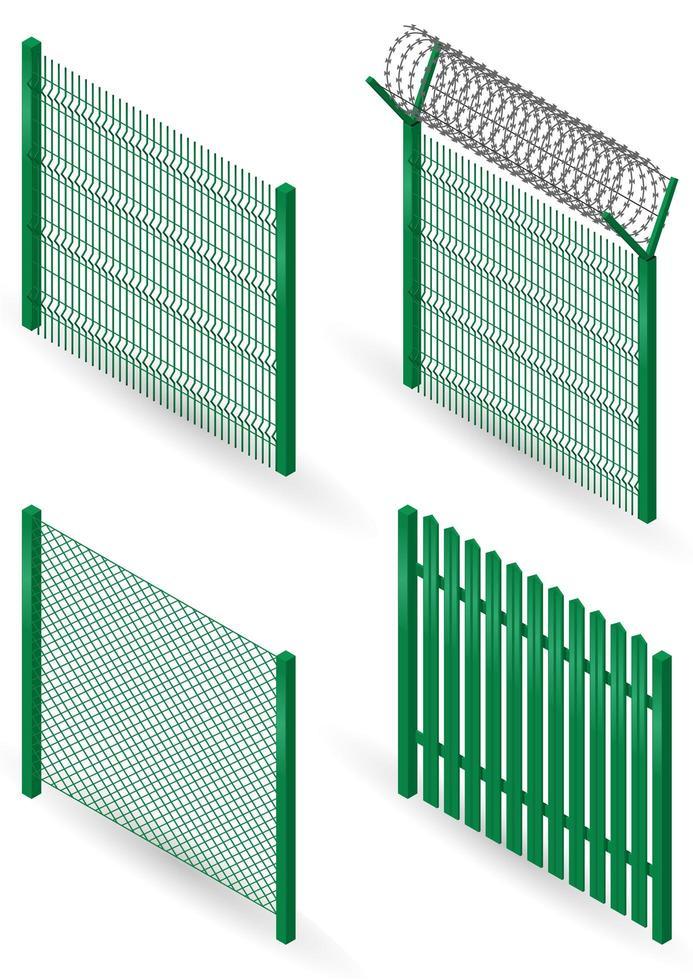 set van groene metalen hekken vector