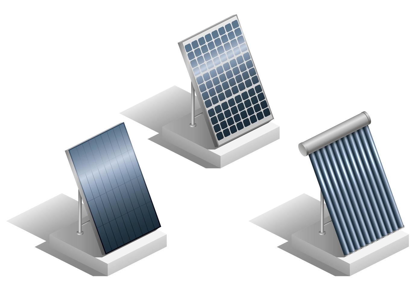set van verschillende moderne zonnepanelen vector